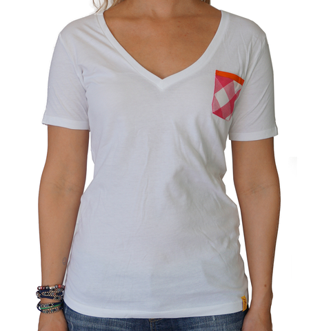 Pink Plaid Pocket Women White Vee Neck - apparel