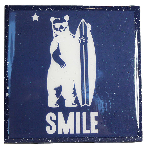 Cali Bear Smile - Blue Recycled Tile Coaster