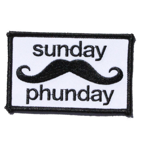 Sunday Phunday Mustache Embroidered Patch