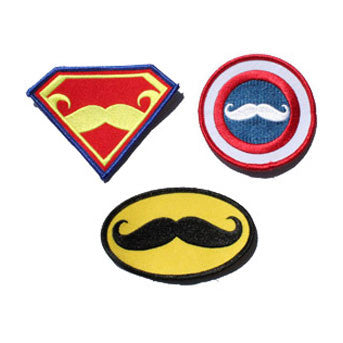 Superhero Mustache Multi Patch Collection
