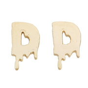 Drippy Initial / Letter Stud Earrings