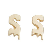Drippy Initial / Letter Stud Earrings - SNASH JEWELRY
