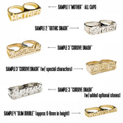 Custom Double Finger Nameplate Rings - SNASH JEWELRY