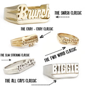 Custom One-Line Nameplate Rings
