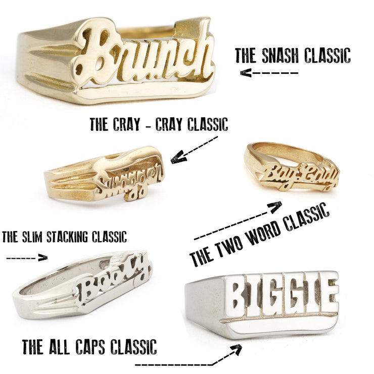 Custom One-Line Nameplate Rings - SNASH JEWELRY