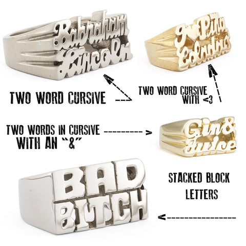 Custom Two-Line Nameplate Ring