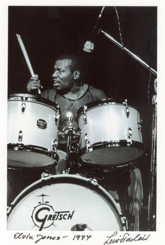 Elvin Jones 5X7 hand signed by Leni Sinclair postcard notecard 021