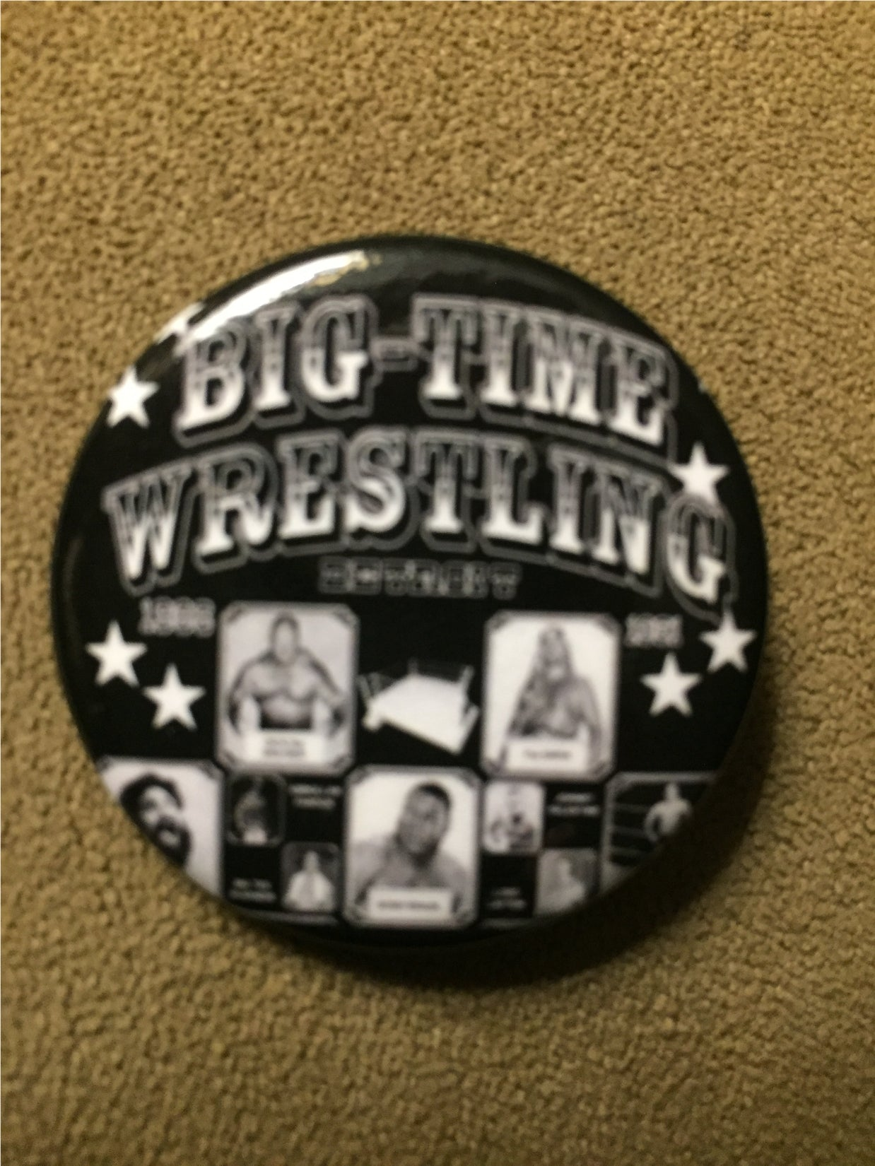big time wrestling detroit pinback button