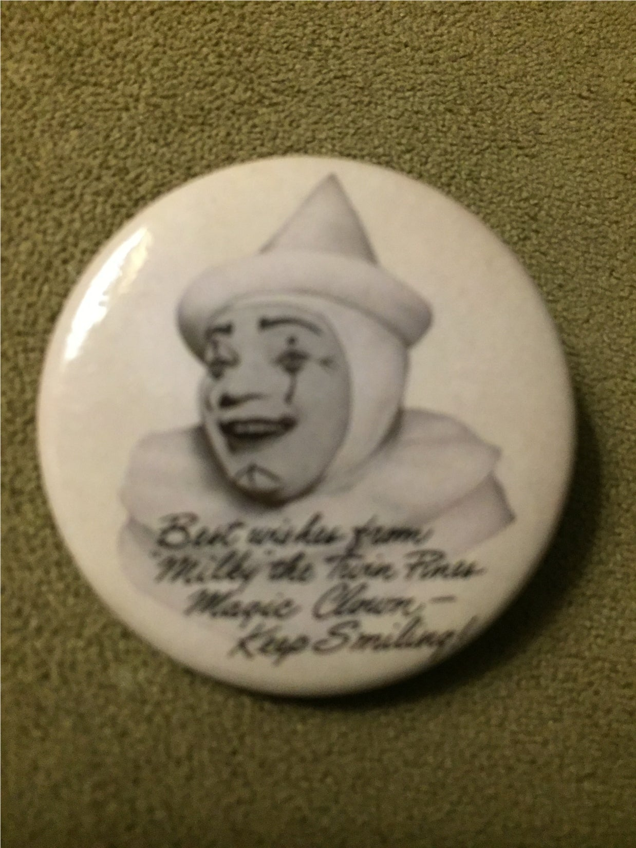 "Milky The Clown / Twin Pines 1.5"" pinback button"
