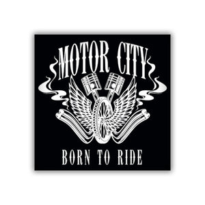 MOTOR CITY BORN TO RIDE BIKER STICKER   www.lostinsounddetroit.com