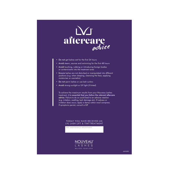 Nouveau Lashes Aftercare Cards - LVL