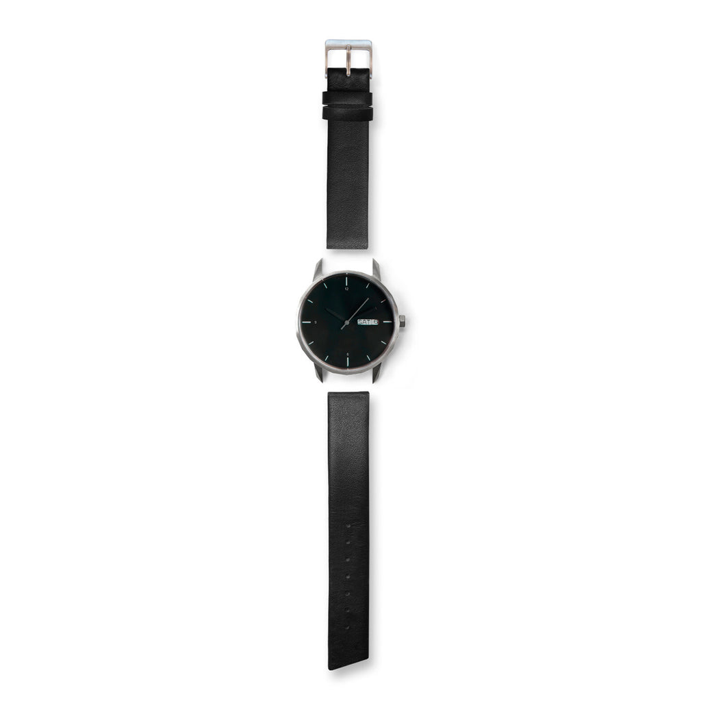 42mm Silver Noir Watch Black Strap