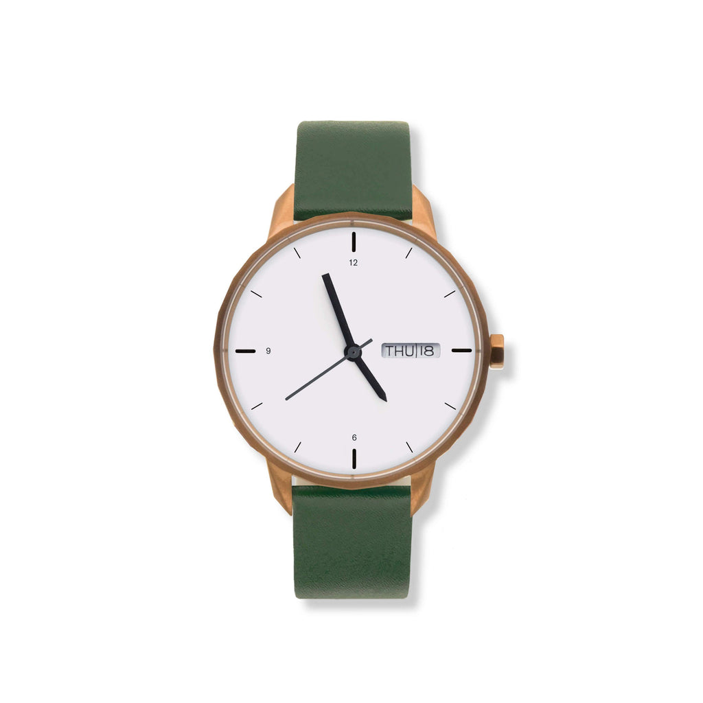 42mm Copper Watch Green Strap