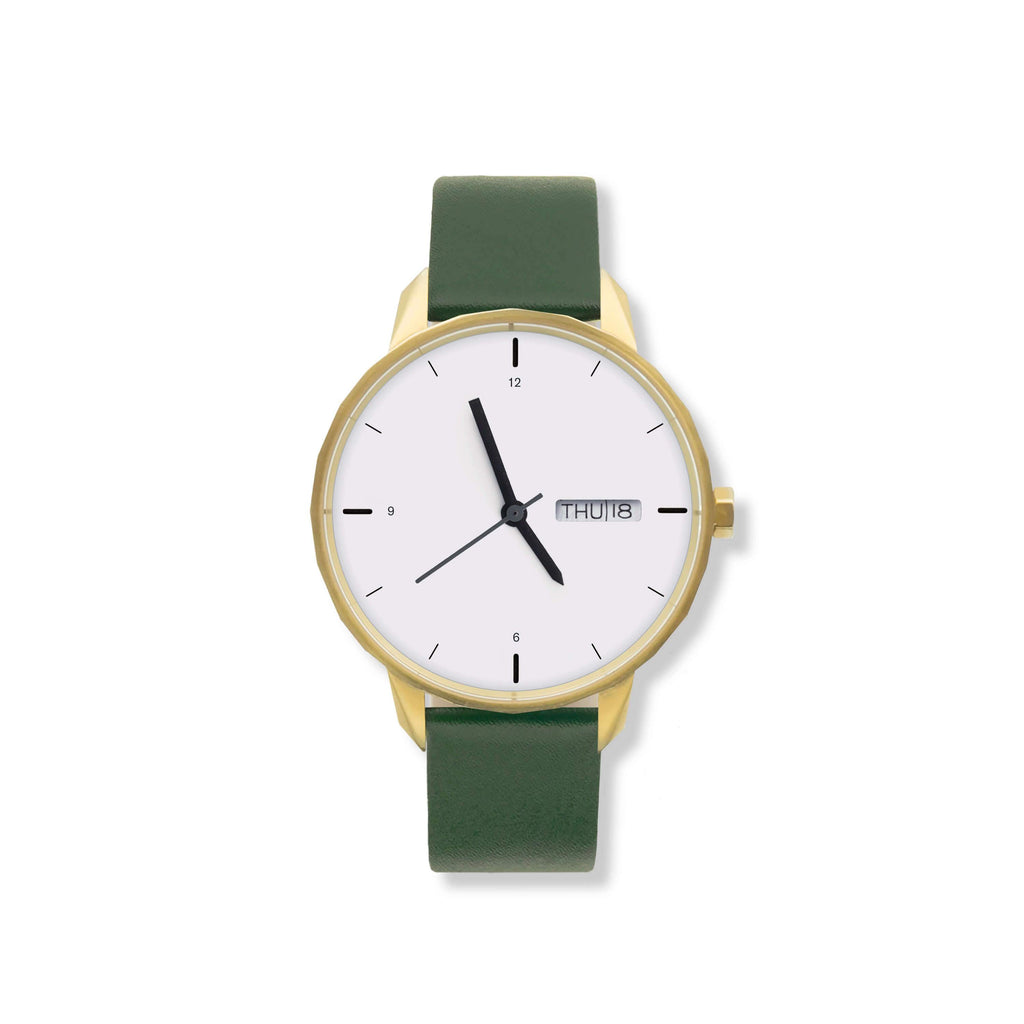 42mm Gold Watch Green Strap
