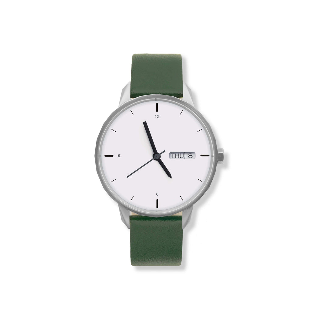 42mm Silver Watch Green Strap