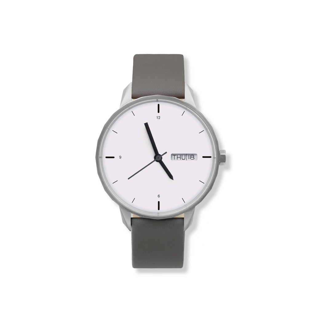 42mm Silver Watch Grey Strap