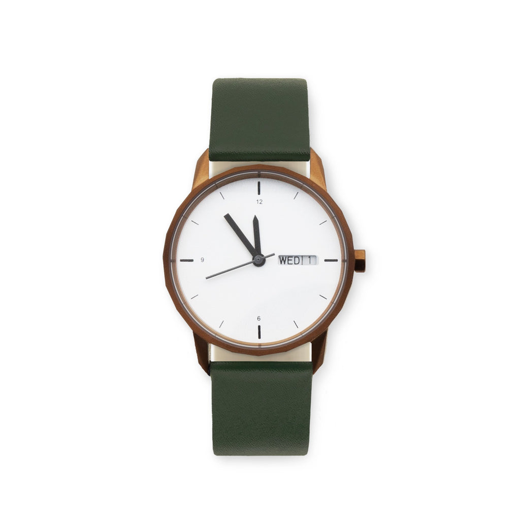 34mm Copper Watch Green Strap