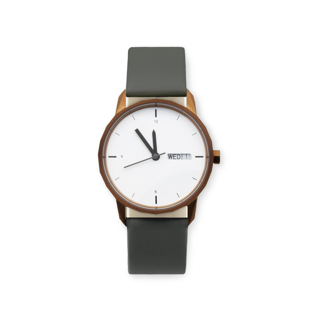 34mm Copper Watch Grey Strap