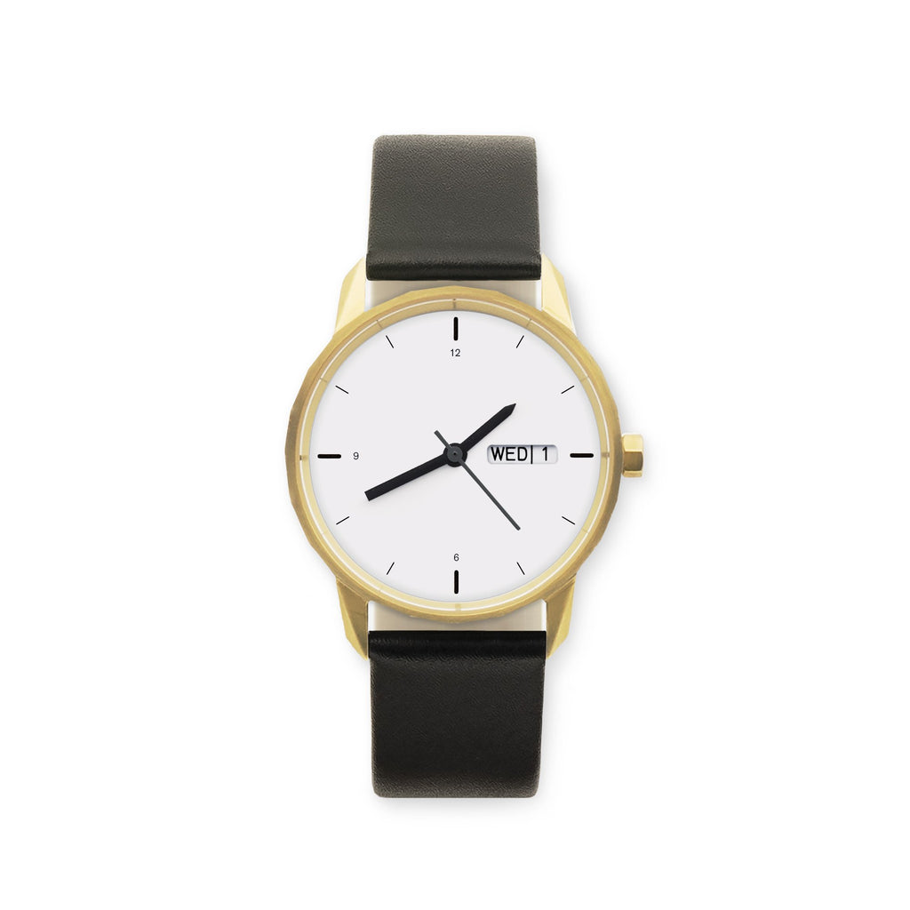 34mm Gold Watch Black Strap