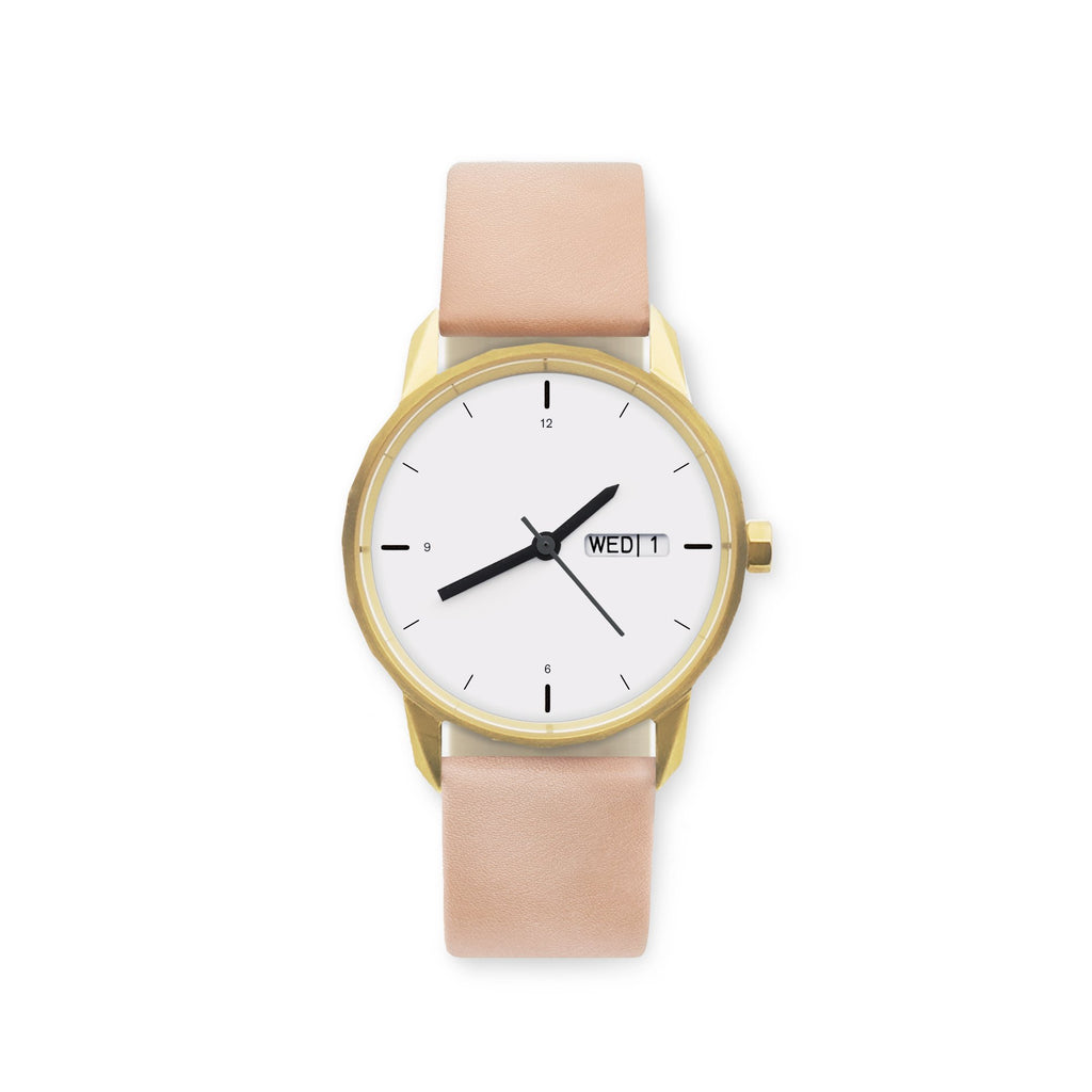 34mm Gold Watch Nude Strap