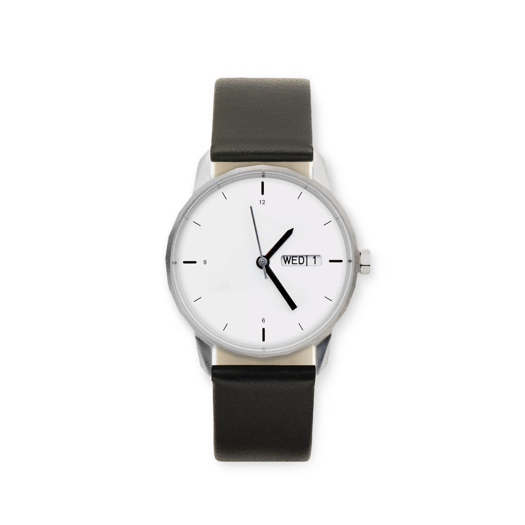 34mm Silver Watch Black Strap