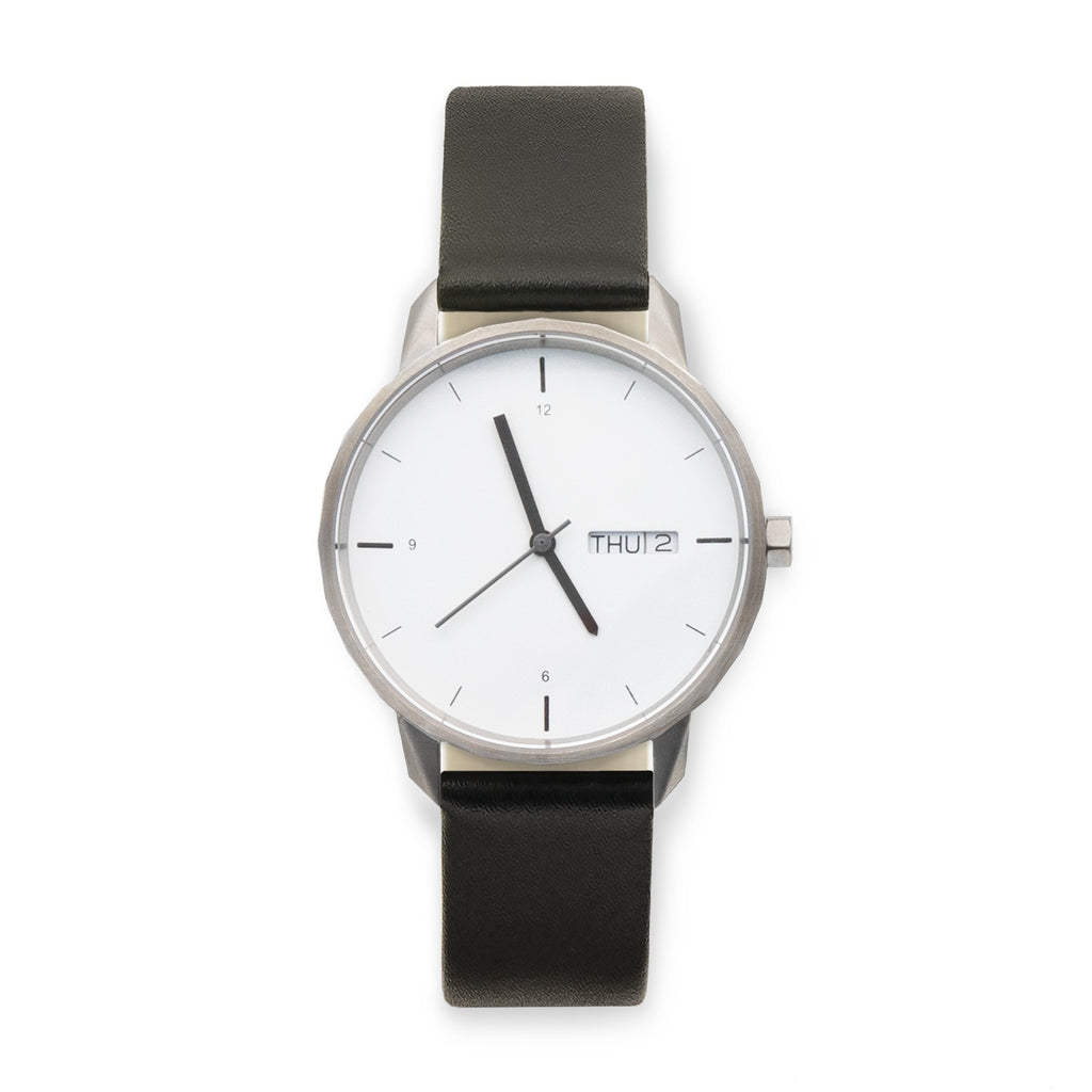 38mm Silver Watch Black Strap