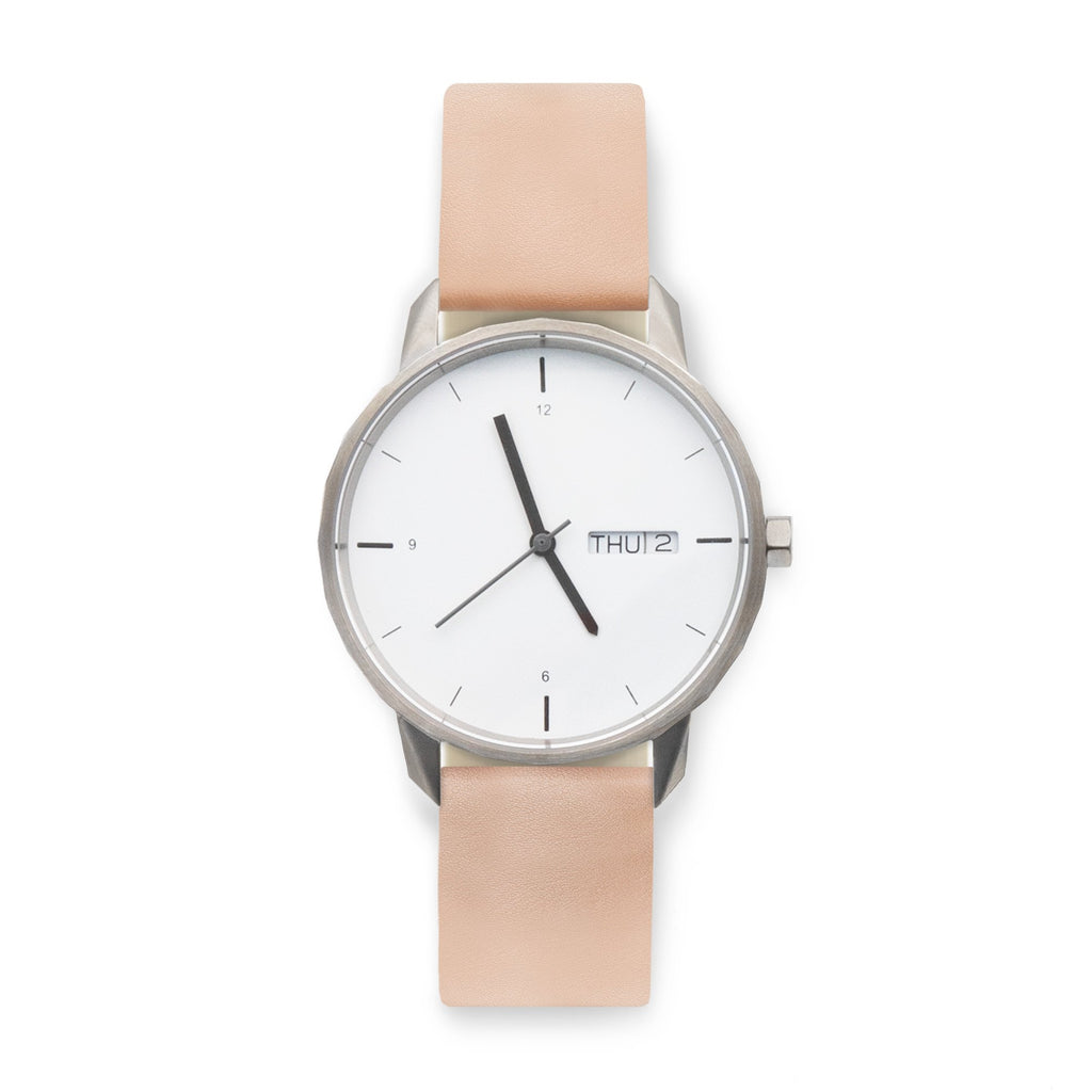 38mm Silver Watch Nude Strap