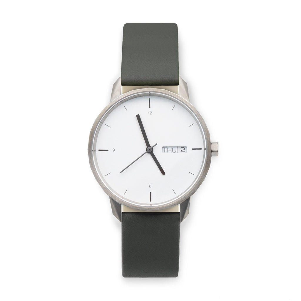 38mm Silver Watch Grey Strap