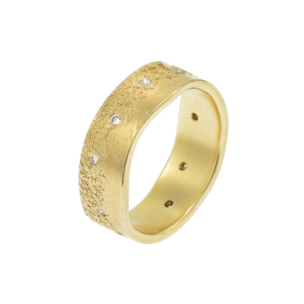 Men's 14k Gold Organic Band with White Diamonds - Hozoni Designs