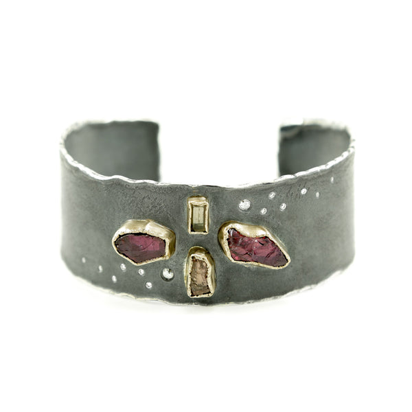 Sterling Silver and Gold Cuff Bracelet with Rough Garnet, Topaz & Diamonds - Hozoni Designs