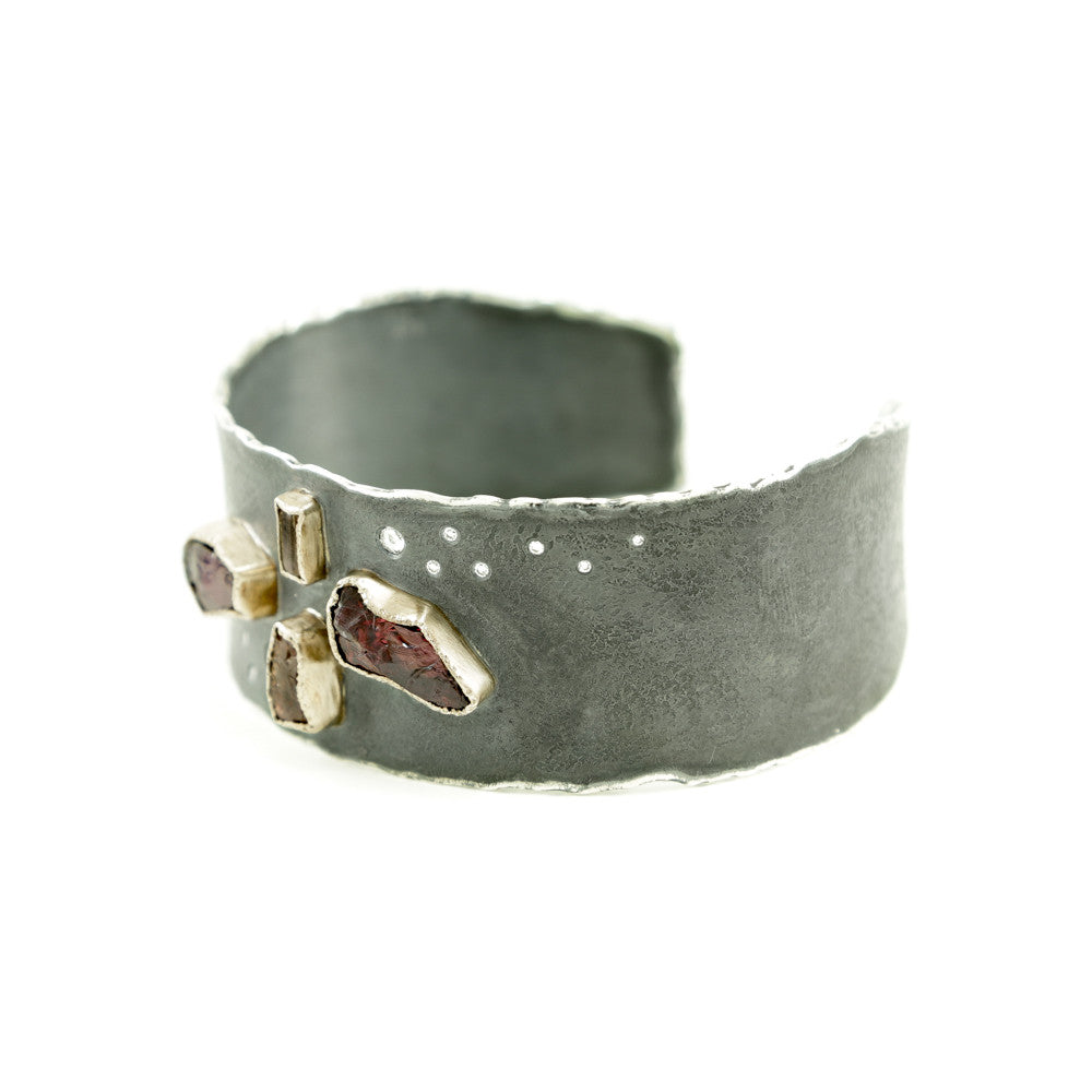 Sterling Silver and Gold Cuff Bracelet with Rough Garnet, Topaz & Diamonds-Hozoni Designs