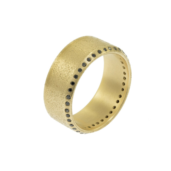 Men's 14K Gold Beveled Edge Rustic Band with Black Diamonds - Hozoni Designs
