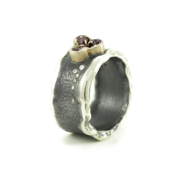 Sterling Silver and Gold Ring with Rough Garnet & Diamonds-Hozoni Designs
