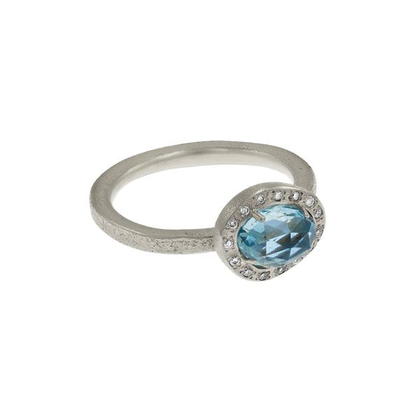 Women's 14K White Gold Freeform Aquamarine Ring with Diamond Halo - Hozoni Designs