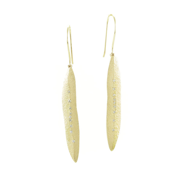 14K Gold Leaf Earrings With White Diamonds-Yellow Gold-Hozoni Designs
