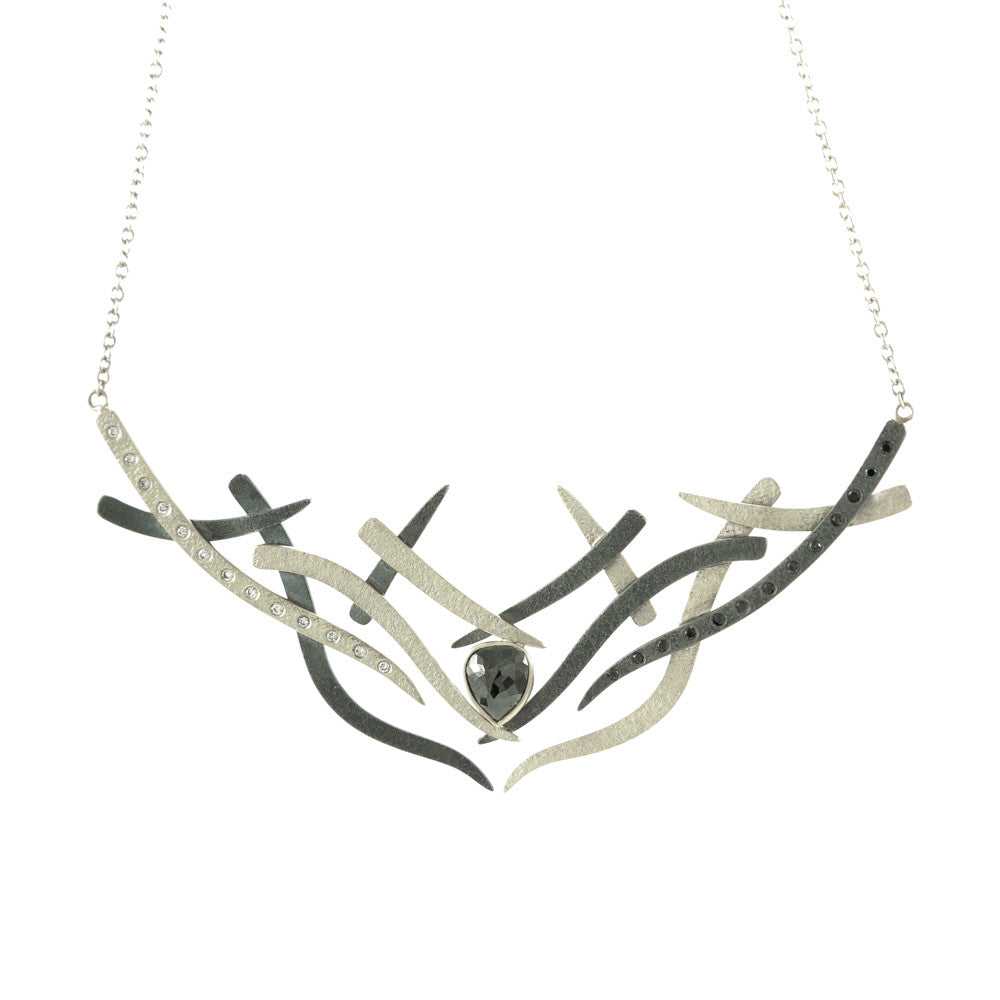 14K Gold and Sterling Silver Woven Necklace with Black and White Diamonds-White Gold-Hozoni Designs