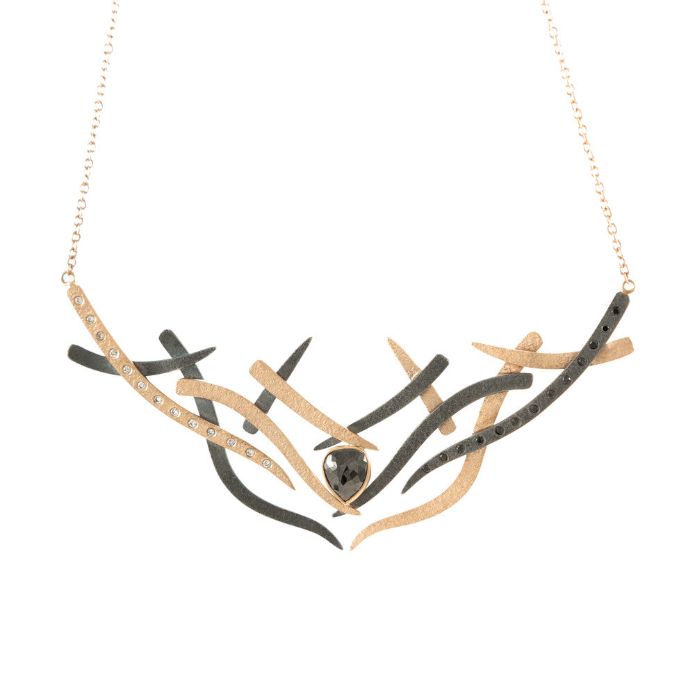 14K Gold and Sterling Silver Woven Necklace with Black and White Diamonds-Rose Gold-Hozoni Designs