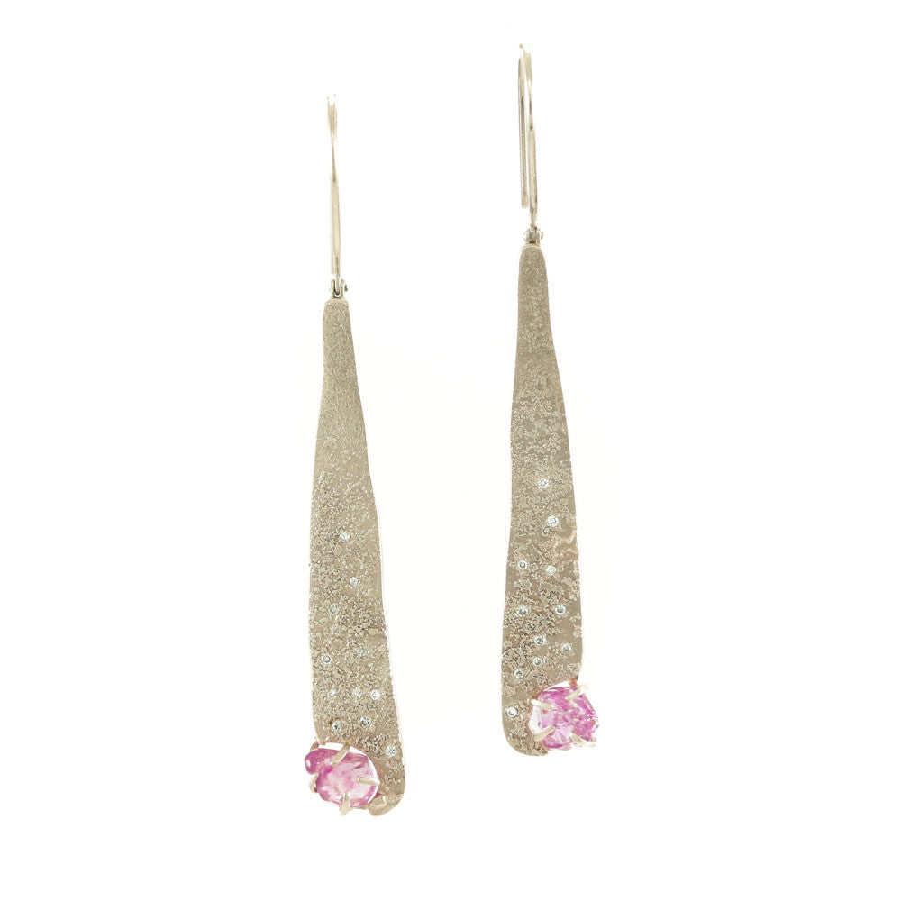 14K Champagne Gold Earrings with Rough Pink Sapphires & Diamonds - Hozoni Designs