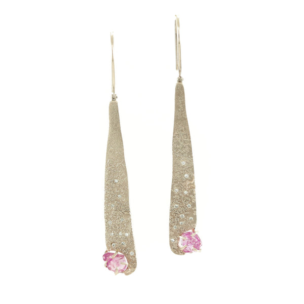 14K Champagne Gold Earrings with Rough Pink Sapphires & Diamonds-Hozoni Designs