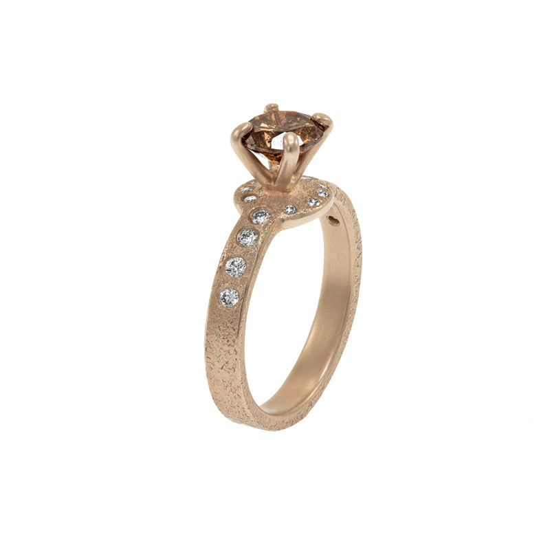 Women's 14K Champagne Gold Cognac Diamond Engagement Ring - Hozoni Designs