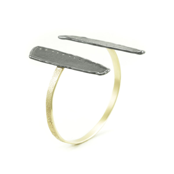14K Gold and Sterling Silver Wing Cuff Bracelet-Hozoni Designs