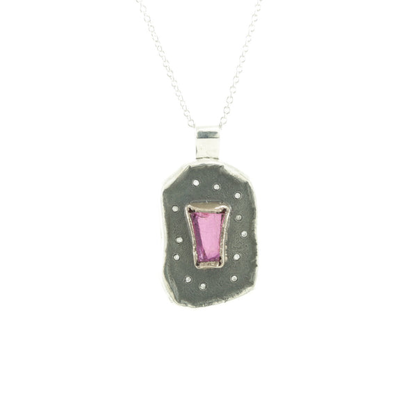 Sterling Silver and Champagne Gold Rough Pink Spinel and Diamond Necklace-Bright Satin-Hozoni Designs