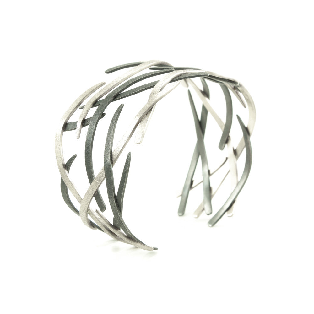 14K Gold and Sterling Silver Woven Cuff Bracelet - Hozoni Designs