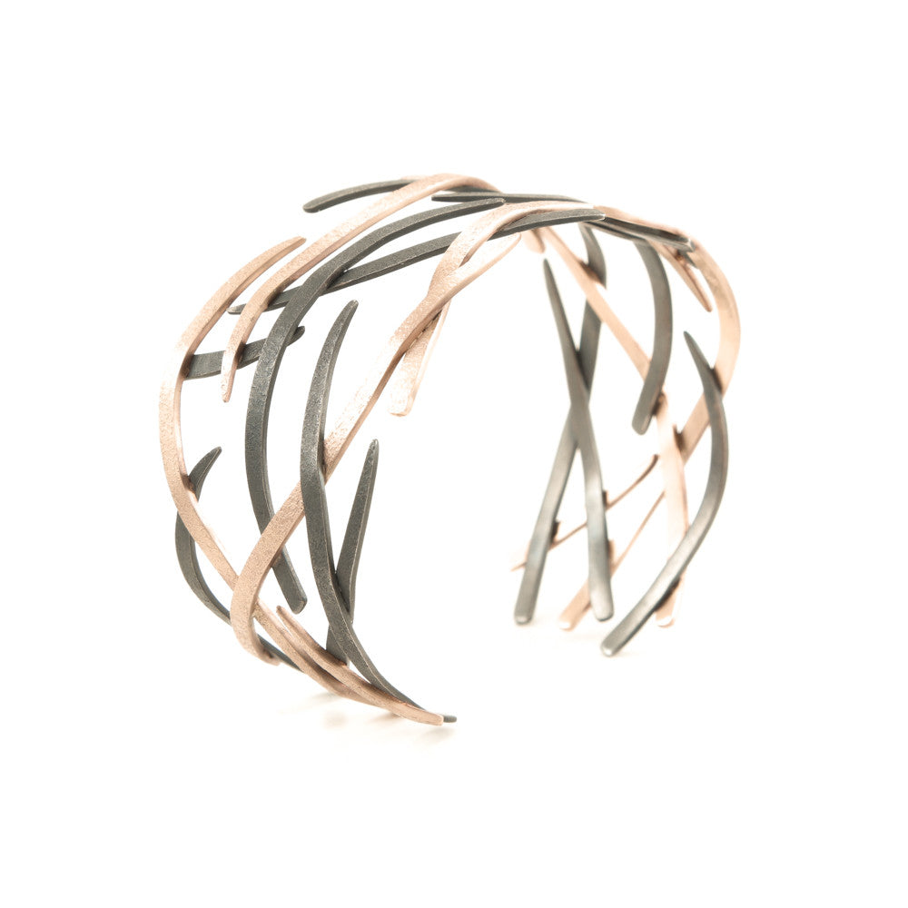 14K Gold and Sterling Silver Woven Cuff Bracelet-White Gold-Hozoni Designs