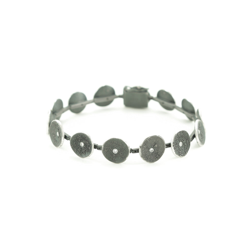 Sterling Silver Organic Disc Link Bracelet with Diamonds - Hozoni Designs