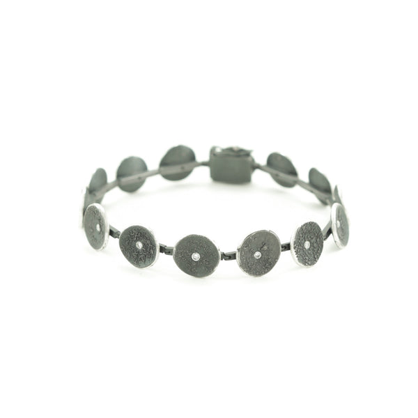 Sterling Silver Organic Disc Link Bracelet with Diamonds-Hozoni Designs