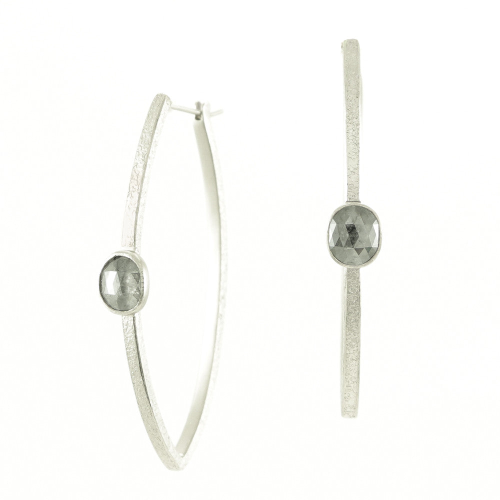 14K White Gold Hoop Earrings with Grey Diamonds-Hozoni Designs