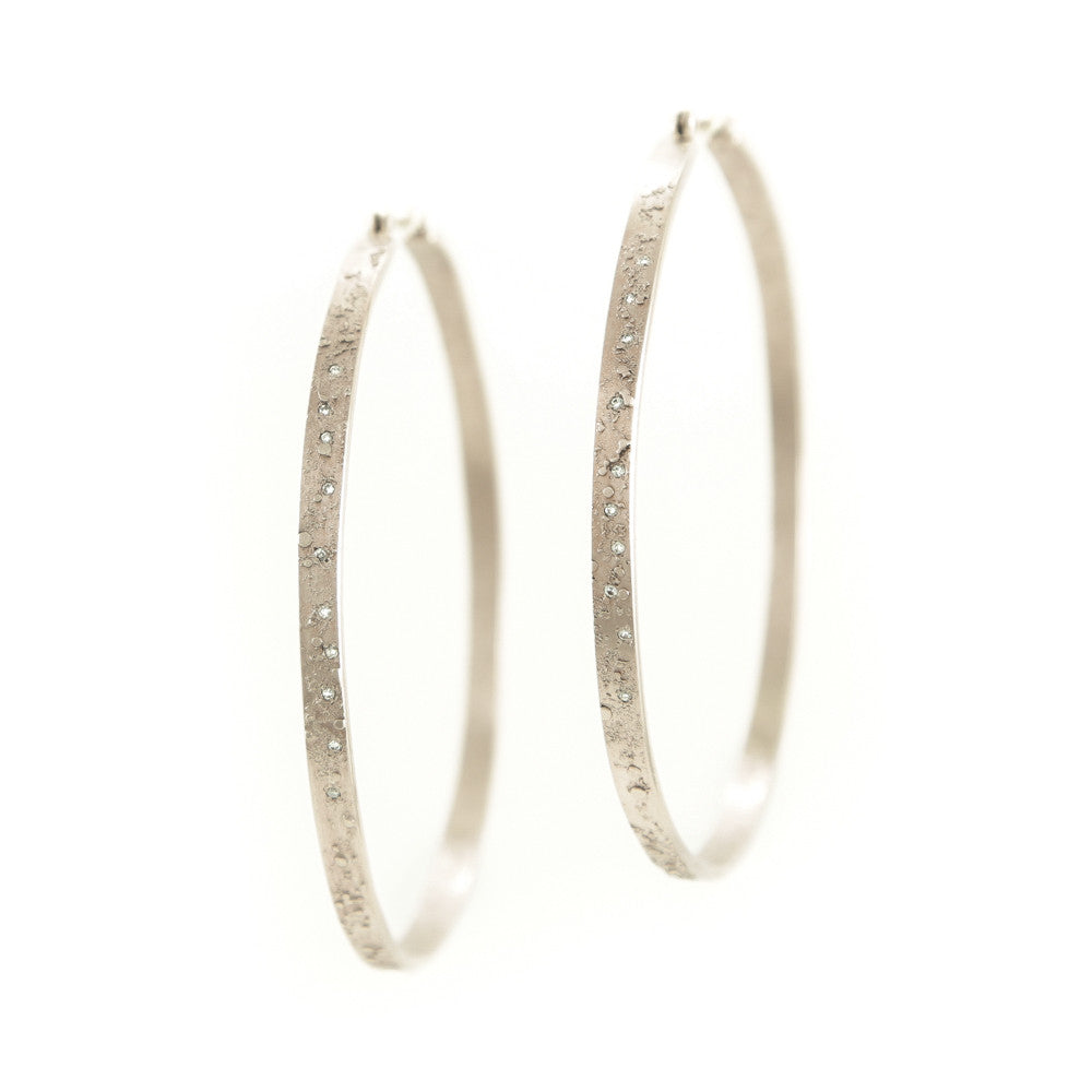 14K Gold Textured Hoop Earrings with White Diamonds-Champagne Gold-Hozoni Designs