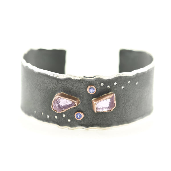 Sterling Silver & Rose Gold Cuff Bracelet with Rough Morganite, Tanzanite & Diamonds - Hozoni Designs