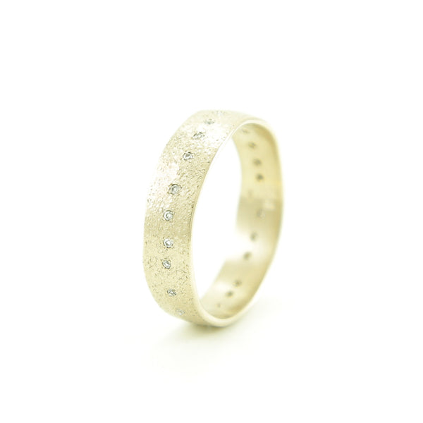 Women's 14K Gold Organic Leaf Band with White Diamonds-4-Hozoni Designs